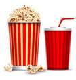 Popcorn and drink vector image