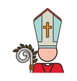 priest with religion icons vector image vector image