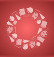 red christmas circular decoration with motifs vector image vector image