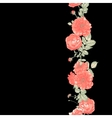 Seamless Border of red roses on dark background vector image