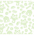 seamless pattern with dogs and accessories hand vector image vector image