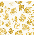Seamless texture with stamped autumn leaves vector image