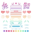 Set of romantic elements for a wedding invitation vector image vector image