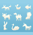 shapes of animal clouds different funny cartoon vector image