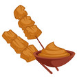shish kebab chicken meat on wooden stick with vector image vector image