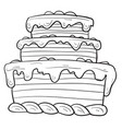 sketch a three-story cake vector image vector image