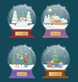 snow globes set with xmas winter landscapes vector image vector image