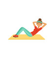 sportive young woman character doing an abdominal vector image vector image