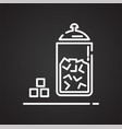 sugar outline icon on black background for graphic vector image vector image