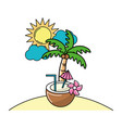 summer beach cartoon vector image vector image
