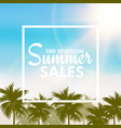 summer sales card with palm tree leaves vector image vector image