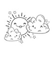 sun and clouds cartoons in black and white vector image