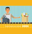 supermarket buy grocery in the supermarket flat vector image vector image
