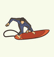surfing sport male player cartoon graphic vector image