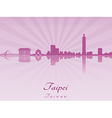 Taipei skyline in purple radiant orchid vector image