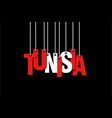 the word tunisia hang on the ropes vector image vector image