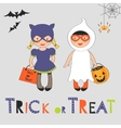 Trick or treat Halloween card with two kids in