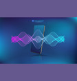 voice assistant sound wave with smartphone mockup vector image