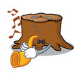 with trumpet tree stump mascot cartoon vector image vector image