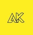 yellow black line alphabet letter ak a k logo