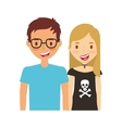 young couple happy icon vector image vector image