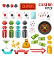 Set of casino gambling game objects and icons vector image