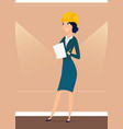 architect girl with design project in hands vector image vector image