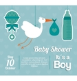 Baby Shower design maraca stork and bottle icon vector image vector image