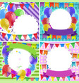 border templates with balloons and flags vector image vector image