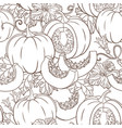 botanical seamless pattern with pumpkins flowers vector image vector image