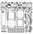 bullet journal and winter doodle elements vector image vector image
