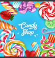 candy shop realistic background vector image vector image