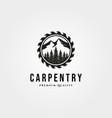 carpentry logo vintage with nature landscape vector image