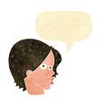 cartoon female face with speech bubble vector image vector image