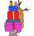 cartoon girl with gifts vector image vector image