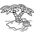 Cartoon island with palm trees vector image
