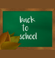 chalkboard in wooden frame with autumn leaves vector image vector image