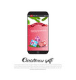 christmas gift banner cell smart phone with new vector image vector image