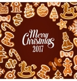 Christmas gingerbread cookie festive poster design vector image vector image