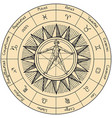 circle zodiac signs with sun and human figure vector image vector image