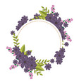 circular frame with violet floral bouquet and vector image vector image