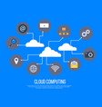 cloud computing services and technology data vector image vector image