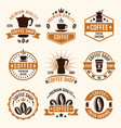 coffee colored labels badges emblems vector image