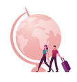 couple male and female characters with luggage vector image vector image