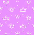 crown seamless pattern pink girl repeat vector image vector image