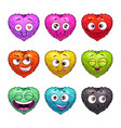 cute cartoon fluffy hearts emoji vector image