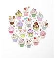 doodle sketch cupcakes with decorations on white vector image