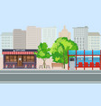 empty bus stop with city skyline flat design style vector image vector image