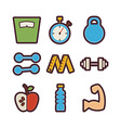 Fitness and Dieting Items Modern Flat Icons Set vector image