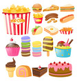 food set with fastfood and desserts vector image